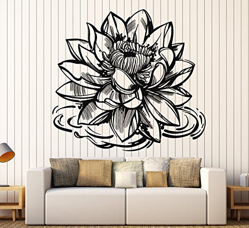 Vinyl Wall Decal Lotus Flower Yoga Meditation Center Buddhism Stickers Large Decor