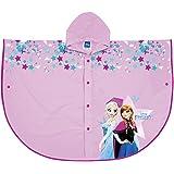 PERLETTI Mantellina Pioggia Disney Frozen - Poncho Impermeabile Bambina Antipioggia con Cappuccio e Bottoni - con Stampa Anna e Elsa - Rosa