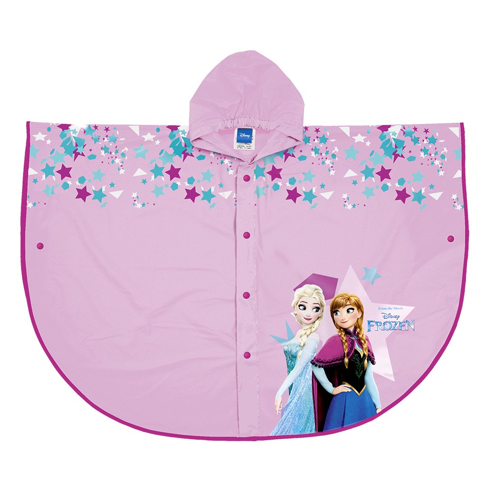 PERLETTI Disney Frozen Rain Poncho - Waterproof Raincoat for Kids with Hood and Buttons - Pink Cape for Girls with Anna & Elsa