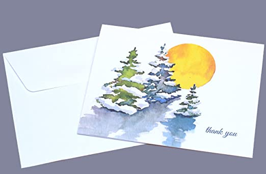 amazon com watercolor winter snow trees thank you cards set of