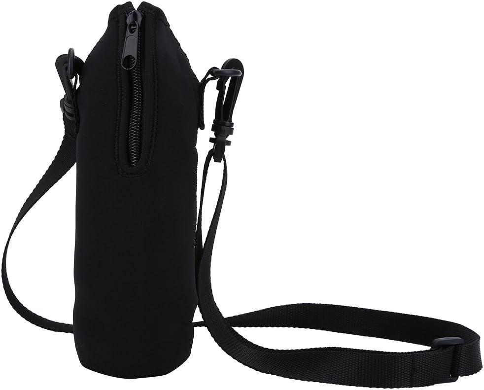 01 Portador de Botella de Agua de 1000 ml al Aire Libre con Funda aislada Bolsa de Correa con Soporte 1 Uds(Black)