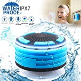 #8: Bluetooth Shower Speaker Waterpoof Shower Radios, Wireless Bathroom Speaker with FM Radios, LED Mood Light, Suction Cup, Portable Speaker for Shower Kids Home Outdoor Beach Pool Hot Tub