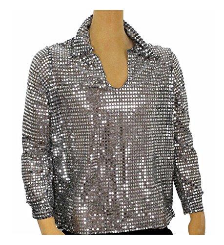 Disco Shirt Sequin - Men's Sequin Disco Shirt (XX-Large, Silver)