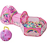 TTLOJ 3pc Rainbow Castle Kids Play Tents Crawl Tunnels and Ball Pit with Basketball Hoop Pink Playhouse Tent for Girls…