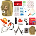 Emergency Survival Kit-First Aid Kit. Outdoor Survival Gear and Tools for Camping, Backpacking, Hiking, Hunting, Car or Adventure Travel. Includes Multi-tool/Waterproof Match Case/Poncho from PDL Store