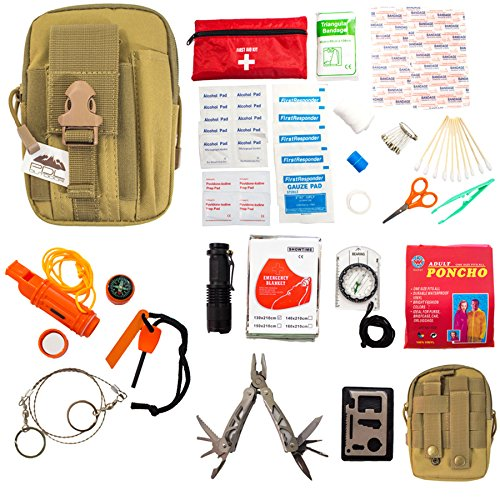 Emergency Survival Kit – First Aid Kit. Outdoor Survival Gear and Tools for Camping, Backpacking, Hiking, Hunting, Car or Adventure Travel. Includes Multi-tool/Waterproof Match Case/Wire Saw/Poncho