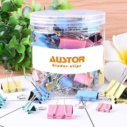 AUSTOR 110 Pcs Colored Binder Clips Paper Clamp Clips Assorted 6 Sizes by AUSTOR (Image #3)