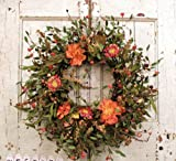 20'' Fall - Everyday wreath with mixed flowers, berries, and long foam leaves. Great for smaller door.