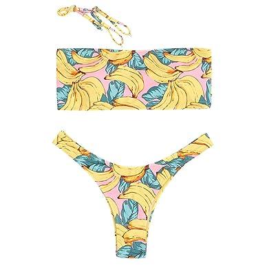46c8549084458 Amazon.com  ZAFUL Womens Bandeau Bikini Set
