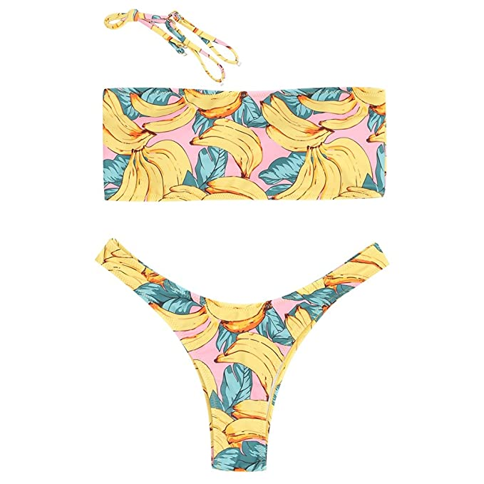 c483e113cc Amazon.com  ZAFUL Womens Bandeau Bikini Set