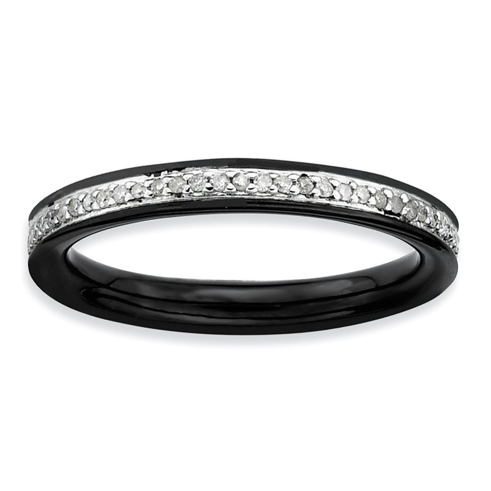 Roy Rose Jewelry Sterling Silver Stackable Expressions & Diamonds Black-plated Ring Size 8