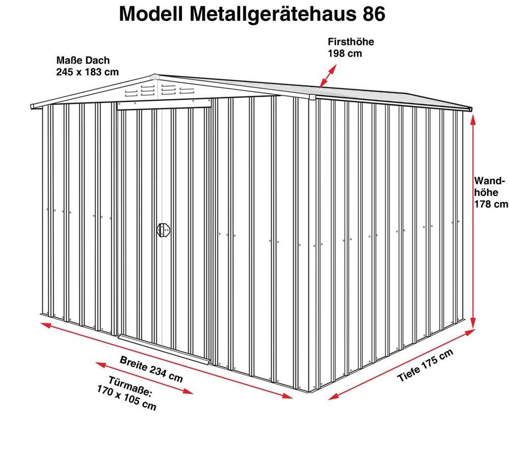 GLOBEL Industries metal jardín cobertizo Jardín Casa 8 x 6 Aluminio Blanco Con Base De Acero//234 x 175 x 198 cm (Alto)//cobertizo metal tejado: Amazon.es: ...