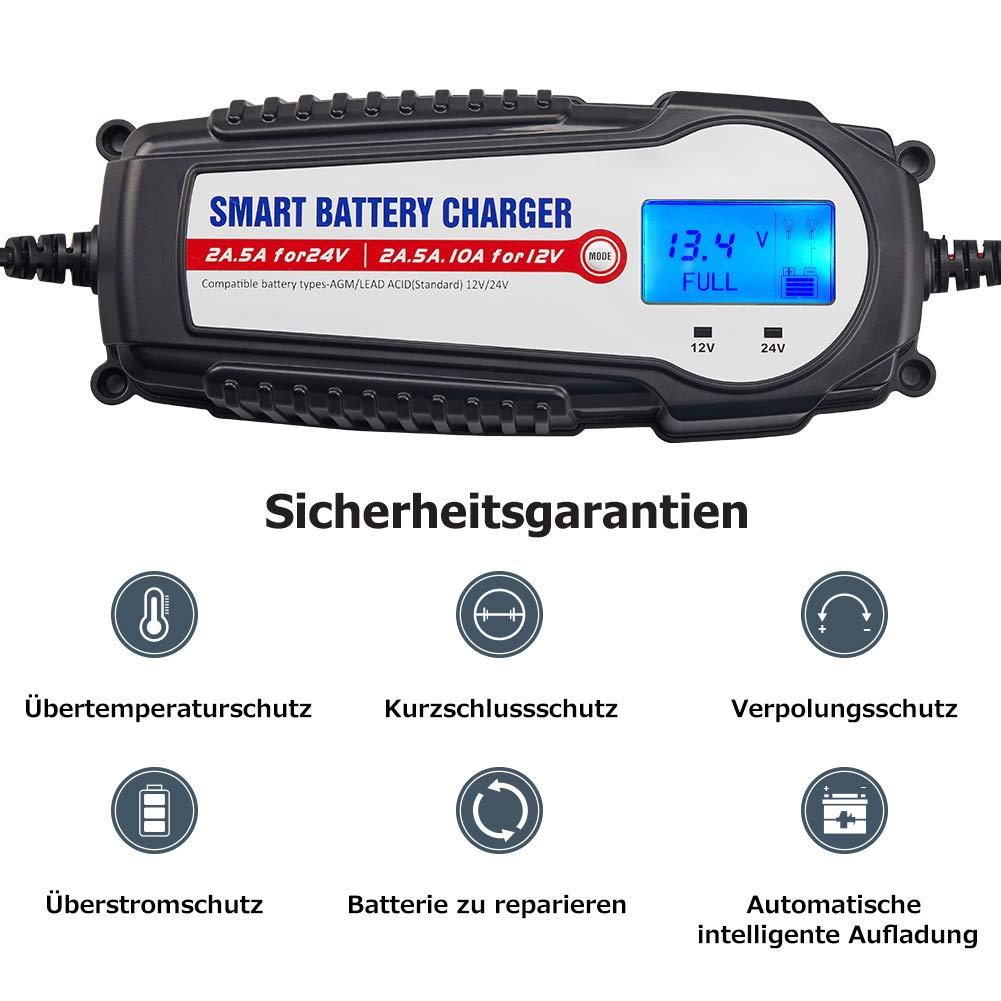 und Ladefortschrittsanzeige f/ür KFZ PKW Auto Motorrad Batterie Ladeger/ät 12V//24V 10A Winterlademodus,Aktualisierte Version LCD-Batteriespannungs