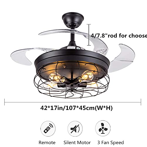 Fandian 42 Vintage Ceiling Fan with Lights Industrial Chandelier Remote Control Lamp 3 Speeds Retractable Lighting fixture, Silent Motor Bulbs Required