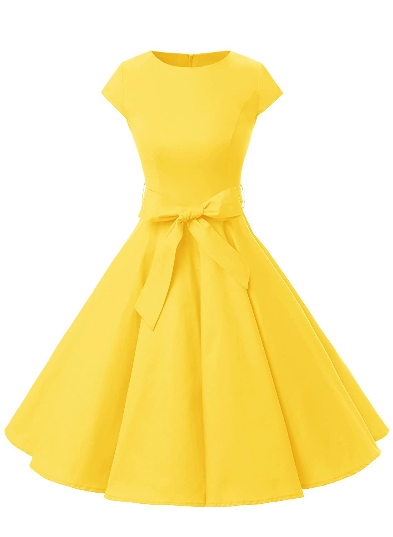 TALLA S. Dressystar Vestidos Coctel Corto Vintage 50s 60s Manga Corta Rockabilly Elegante Mujer Yellow S