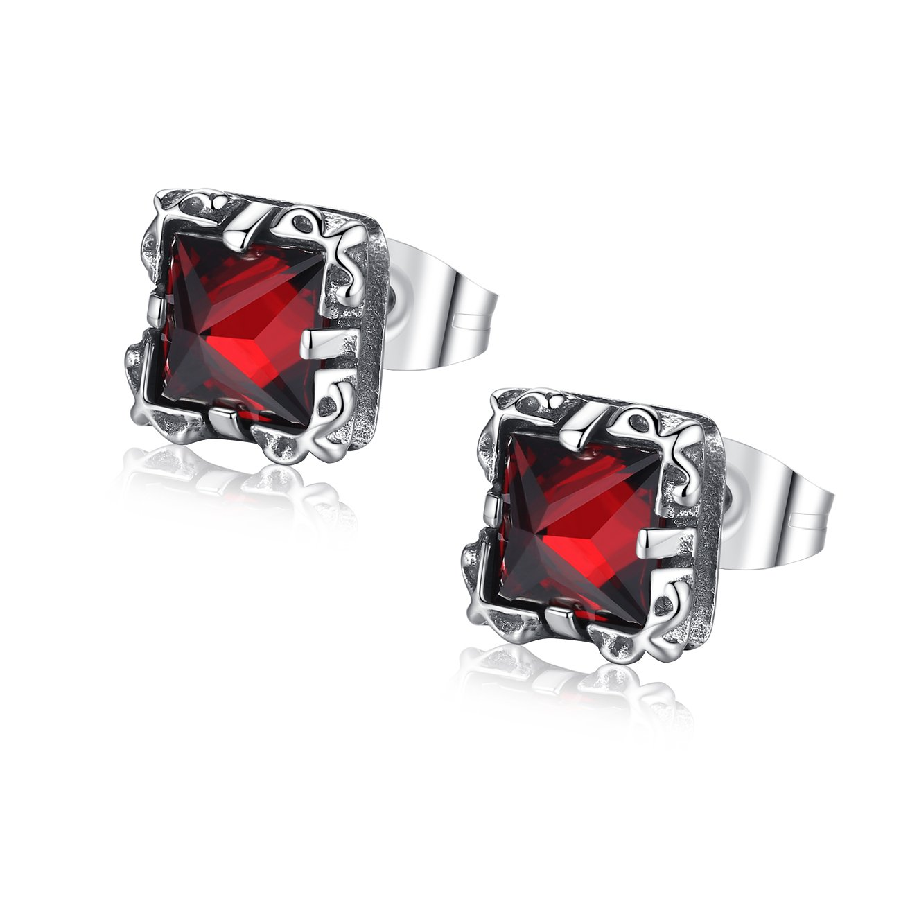 REVEMCN Silver Tone Stainless Steel Vintage Square Pyramid Cut Cubic Zirconia Stud Earrings for Men Women (Red)