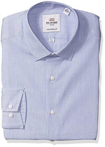 - Ben Sherman Royal Blue Dobby Stripe Men's Dress Shirt, 14.5