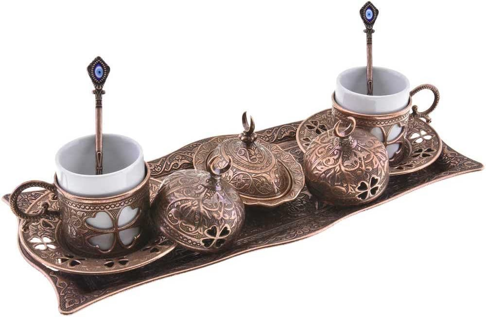 Premium Turkish Greek Arabic Coffee Espresso Serving Set for 2,Cups Saucers Lids Tray Delight Sugar Dish 11pc (Antique Brown