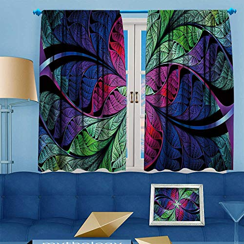 Beautiful Colored Multi (PRUNUS Blackout Curtain Extraordinary Beautiful Multi Colored Stained Glass Leaves of a Fantastic Plant Abstract Blackout Draperies for Bedroom W72 x L84 inch)