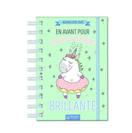 Bouchut - Agenda diaria con espiral, diseño de unicornio, de ...