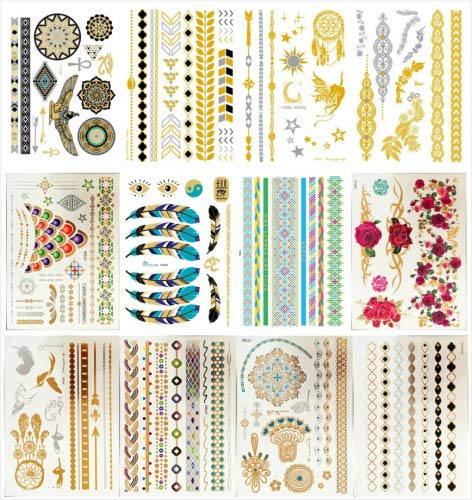 12 Premium Sheets - Metallic Flash Temporary Tattoos - Gold and Silver Bling Temporary Waterproof Tatoo,botanical Temporary Tattoo Custom Temporary Tattoos for Kids (1 Pack, Series 15)
