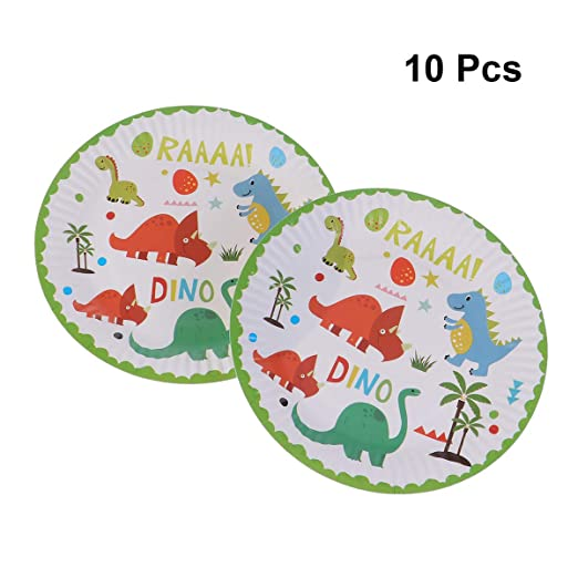 BESTONZON 10 piezas 7 pulgadas platos de papel dinosaurio ...