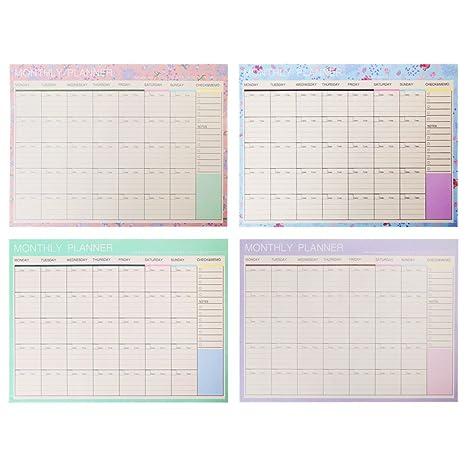 Lwl220 Bloc de papel mensual de 20 hojas, planificador de ...