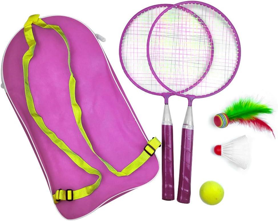 Hinmay 1 juego de juguetes bádminton raqueta deportes al aire libre niños bebé con mochila juegos al aire libre, Rosa, Tamaño libre