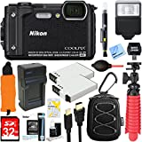 Nikon COOLPIX W300 16MP 4k Ultra HD Waterproof Digital Camera + 32GB Memory & Flash Deluxe Accessory Bundle (Black)