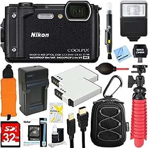 Nikon COOLPIX W300 16MP 4k Ultra HD Waterproof Digital Camera (Black) + 32GB Memory & Flash Deluxe Accessory Bundle
