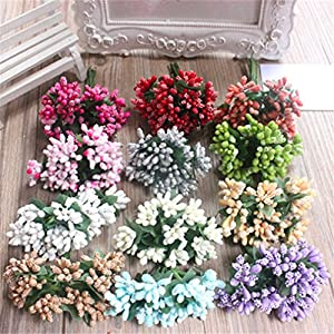 Heads Orchid 12Pcs Artificial Bud Stamen Berry Flower for Wedding Decoration DIY Decorative Artificial Flowers 115