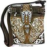 Embroidered Western Buckle Messenger Bag Cross Body Purse (Brown)