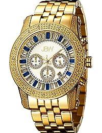 "JBW Men's JB-6219-G ""Krypton"" Gold Blue Chronograph Diamond Watch"