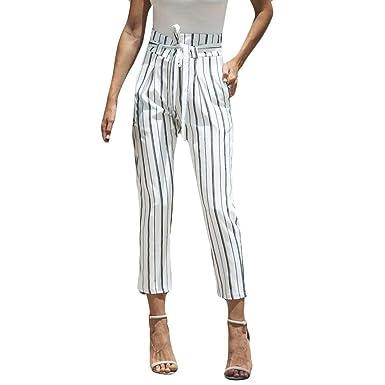 295bffa97b5a Kolylong の💕 Vintage Pantalon Fluide Femme été Automne 2018 Pantalon rayé  en Coton Taille Haute