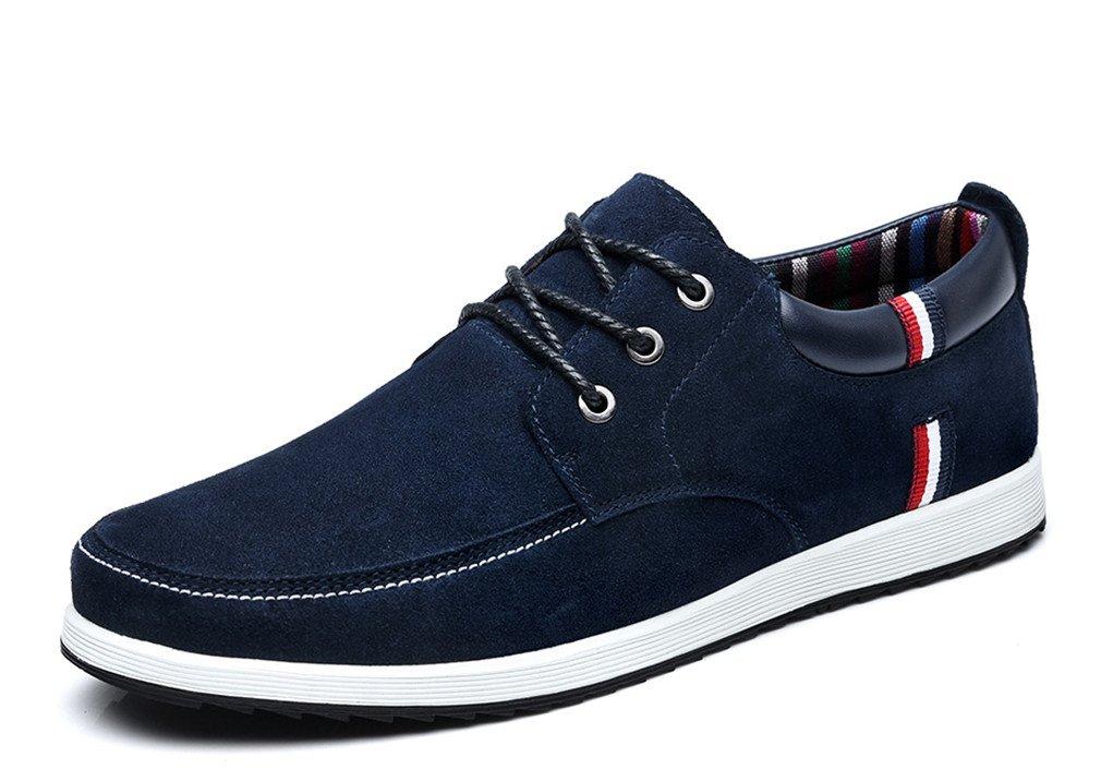Bridfa Zapatos casuales de cuero para hombres Mocasines de gamuza Mocasines para hombres Zapatos de barco con cordones Zapatillas de deporte planas 9 S1622 Darkblue