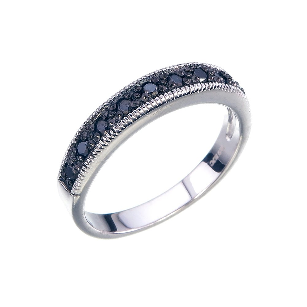 0.25 CT Black Diamond Ring With Milgrain .925 Sterling Silver Size 6