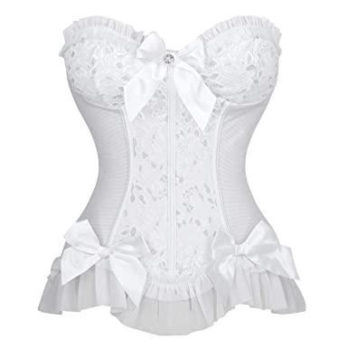 2a118265e8 Charmian Women s Sweetheart Floral Jacquard Strapless Wedding Bridal Corset  Bustier Top White Small