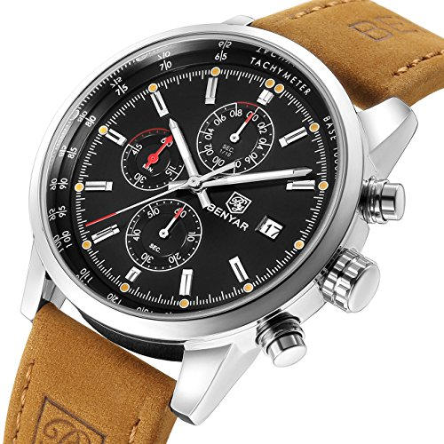 Chronograph Brown Leather Quartz Analog Watches Men Waterproof Date Stainless Steel Black Dial Mens Wrist (Mens Chronograph Brown Leather)