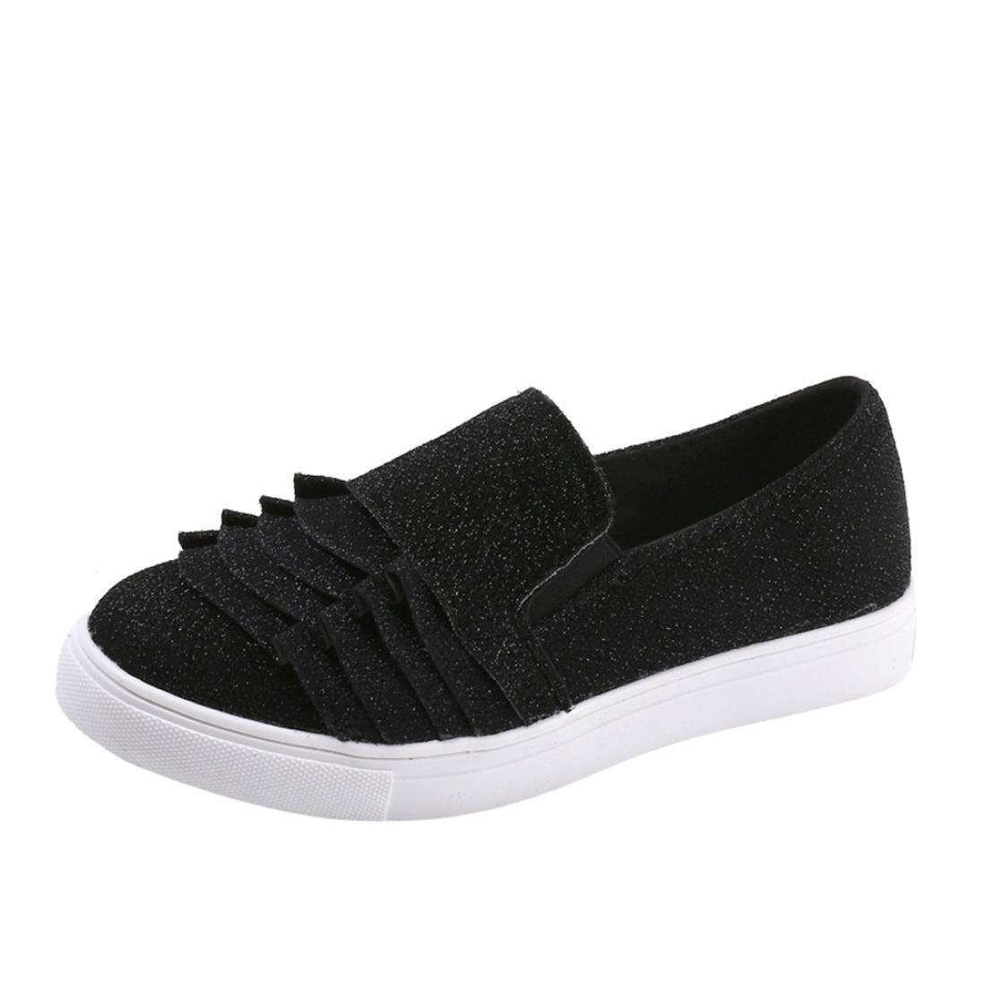 DENER Women Flat Shoes,Designer Lace Slip on Wide Width Comfortable Boat Casual Walking Shoes Loafers Espadrilles (Black, 42)