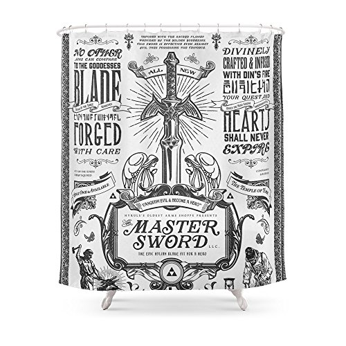 Cheap Society6 Legend Of Zelda Vintage Master Sword Advertisement Shower Curtain 71 By