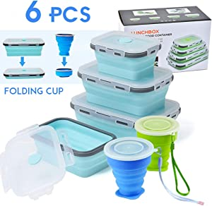 6 PCS Collapsible Food Storage Containers, Silicone Collapsible Lunch Box with BPA Free Lids, Microwave, Freezer, Space Saving Flat Stacks Portable Food Container Meal Bento Boxes for Outdoor Camping