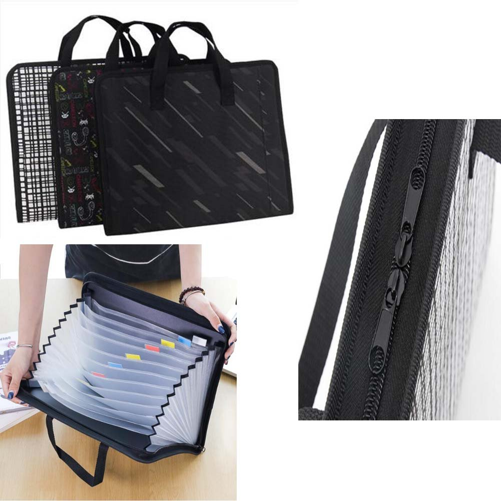 13 Pockets Portable Canvas File Holder Multilayer Briefcase-Fashion