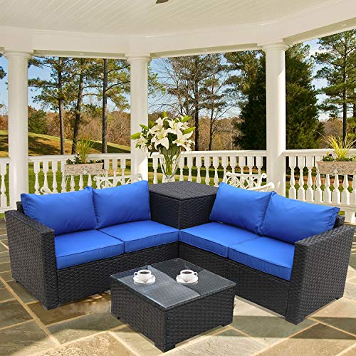 Outdoor PE Wicker Furniture Set 4 Piece Patio Black Rattan Sectional Loveseat Couch Set Conversation Sofa with Storage Table Royal Blue Cushion