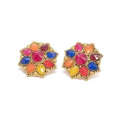 7b435e6821cb4 DREAM XPLORE® Gold Plated Enamel Flower Shaped Stud Earrings for Girls and  Women- Multi colour