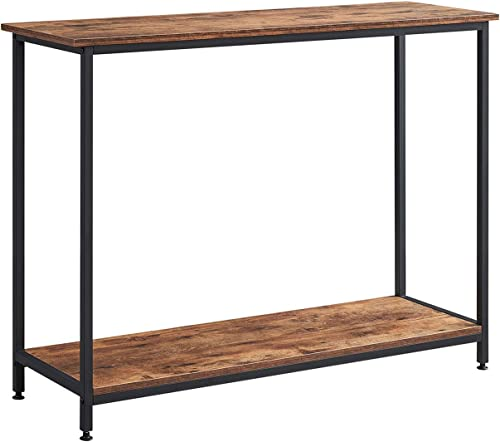 AMOAK Console Table, Sofa Table, Metal Frame, Easy Assembly, for Entryway, Living Room, 2-tie Shelf, Rustic Brown