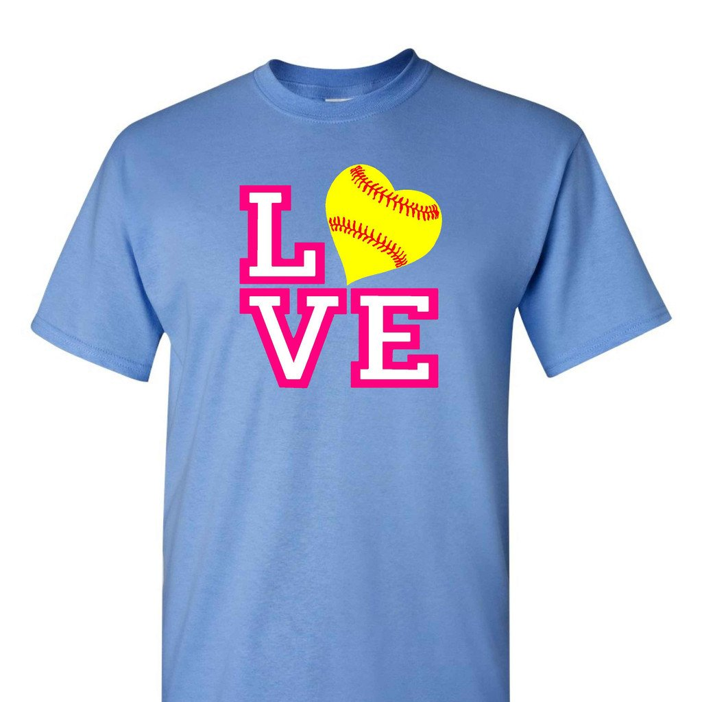 Softball Love On A CarolinaブルーTシャツ B01BRVSLCELarge