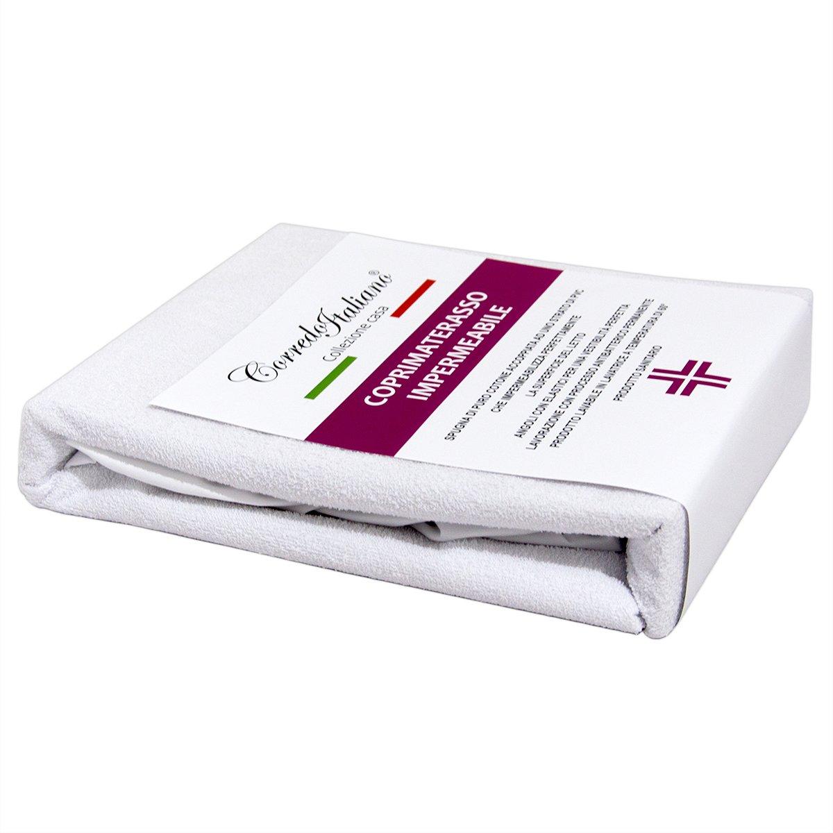 Corredo Italiano - Protector impermeable de colchones para camas matrimoniales. Posee esquinas elásticas ajustables. Dimensiones: 170 x 195 + 27 cm Corredo Italiano®