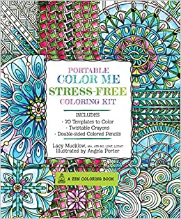 Portable Color Me Stress-Free Coloring Kit: Includes Book, Colored ...