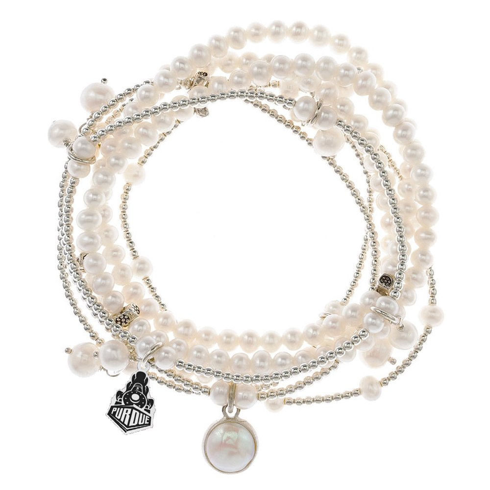 Purdue Boilermakers 7 Strand Freshwater Pearl and Silver Bracelet