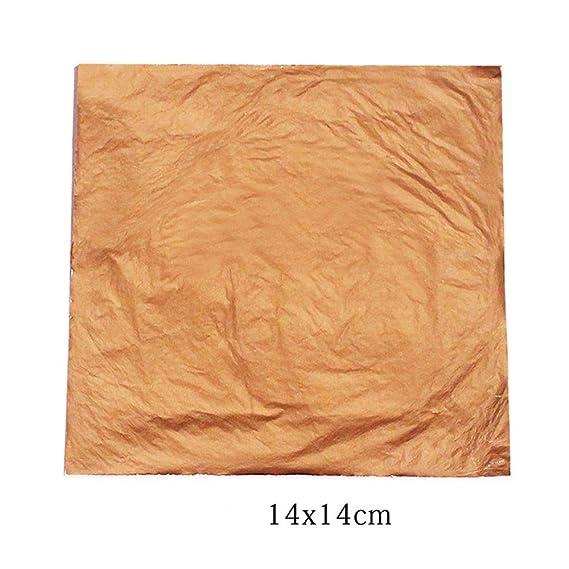 Hojas De Hoja De Oro Plata Cobre 100Pcs Papel de Aluminio 14x14cm para dorar Artesanía Decoración
